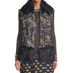 Sui by Anna Sui Tapestry Fur Trimmed Vest L